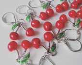 CHERRY, 3d,  cherry earrings, red and green, fruit, cherry , by NewellsJewels on etsy