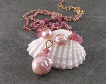 Pink tourmaline necklace, handmade gold fill and baroque pearl necklace-OOAK