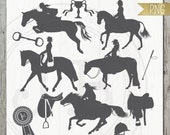 Instant Download Set of 13 Horse Themed Silhouette clipart set  PNG- Dressage, Show pony, Western, Showjumper, Saddle, Winners Ribbon, Cup