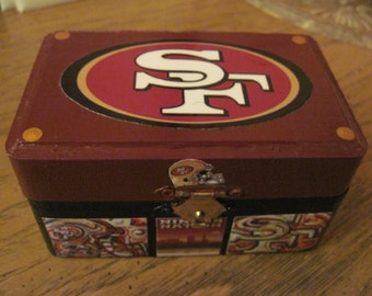San Francisco 49ers Hand Crafted and Decoupaged Wood  Keepsake Box