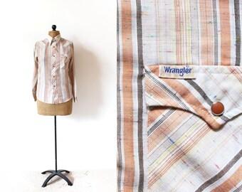 vintage shirt 70's western neutral desert striped tan pearl button size small s boy 16