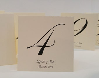 Wedding Table Number Tent Personalized with Bride and Groom Names and Wedding Date