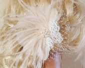 Fascinator,Wedding Head Piece,Feather Hair Clip,Great Gatsby Style,Bridal Comb,Bridal Hair Accessory,Ivory Hair Clip,Feather Hair Clip