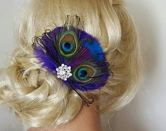 Wedding Fascinator, Wedding Hair Clip, Peacock Hair Clip, Bridal Comb, Wedding Dress Pin, Bridal Fascinator, Gift, Peacock Comb, Green Blue