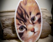 Kitty Cat China Free Form Hand Cut Cabochon 69 mm