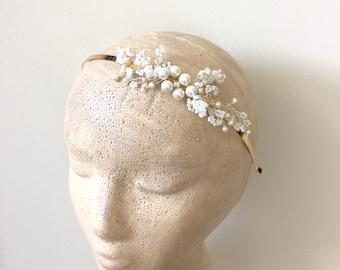 White Flowers Headband - Bridal Headband, Pearl headband, White wedding Style01