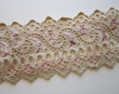 2 yards vintage eyelet trim - flat trim, embroidered, beige and pink - 2 inches wide