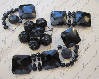 antique mourning jewelry pieces, parts - as is