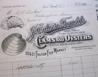 antique receipt - J. Edwin Treakle CLAMS and OYSTER - Fulton Fish Market New York advertising ephemera - circa 1915-1916