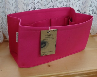Fits Speedy 30 / Ready to Ship / Purse insert Organizer Shaper / 11 x 6 x 6H / Fuchsia for Pivoine interior / Stiff wipe-clean bottom