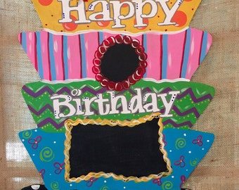 Birthday Cake Wood Door Hanger with Chalkboard