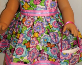 "American Made Girl 18"" Doll Clothes Colorful Floral Butterfly Ladybug Print Doll Dress fits 18 inch dolls"