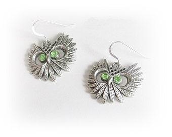 Silver Owl Earrings, Peridot Owl Earrings, Gift for Women, Owl Jewelry, Sterling Silver Owl Dangle Earrings, Mothers Day, Gift for Her