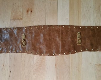 "Wide Real Leather Belt with latch detail - 34.5"" waist"