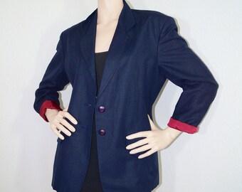 SC Vintage 1980s United Colors of Benetton Blazer / Minimalist 80s Oversized Boyfriend Blazer Jacket / Vintage Blazer Made in Italy - L XL