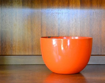 vintage finel kaj franck orange enamel bowl