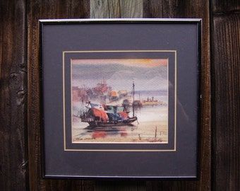 Two (2) Vintage Signed Numbered Matted Framed Watercolor Pictures Paintings