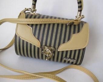 Vintage Mini Black Striped Barrel Bag Purse with Long Skinny Strap SALE