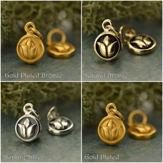 Lotus Charm Dangles - C550, Select Your Favorite Style, Yoga Spirit Charms, Zen