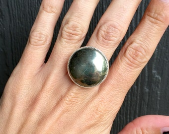 Large Minimalist Golden Pyrite Sterling Silver Ring with Serrated Bezel