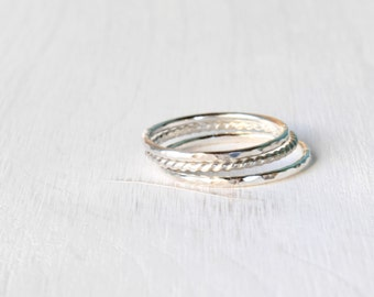 GET 1 FREE WITH Three Stacking silver rings / hammered stacking rings twisted wire ring in shiny silver / silver stacking rings Handmade