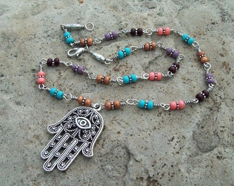 Antique Silver Hamsa hand Pendant Necklace with mixed Czech glass beaded chain