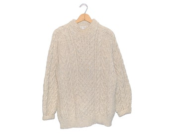 Vintage Athena Designs Irish Handknit Light Oatmeal Brown Wool Fisherman Sweater Made in Rep. of Ireland - XL