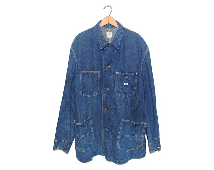 Vintage LEE Union Made 91-J Chore Coat Dark Blue Jelt Denim Sanforized Jean Jacket Made in USA - X Large (OS-dj-8)