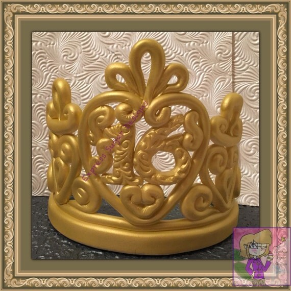 crown cake topper items similar to sugar edible custom crown cake topper 3196