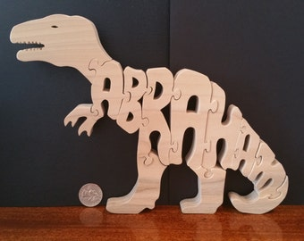 Personalized T Rex Dinosaur Puzzle with your name in puzzle Poplar Hardwood