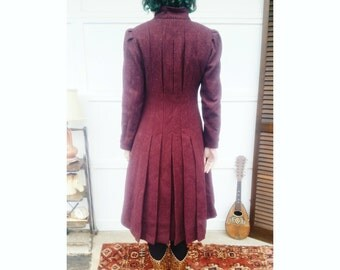 Vintage Ovanguard Jill Jr. Burgundy Ruffle Pleated Mod wool Coat