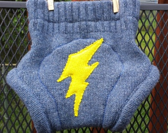 Upcycled Wool Diaper Cover, soaker, medium, extra layer, lightning bolt, NQP