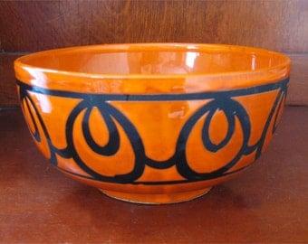 Mid Century Retro Orange Black Bowl Retro European ? Germany Italy