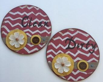 Clean/Dirty/Dishwasher/Magnets/Housewarming Gift/Red/Yellow/Chevron/Fall