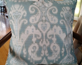 SPA BLUE IKAT Pillow Cover  20""