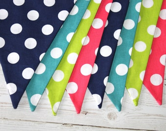 Polka Dot - Fabric Bunting - Turquoise - Navy - Lime Green - Pink