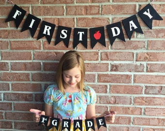 School Banner Set - First Day of School - Photo Prop - First Day Sign - Teacher Gift