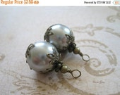 20% OFF ON SALE Silver Grey Swarovski Pearl , Antique Bronze Wrapped Dangle 16mm Beads Drop, 2 pcs