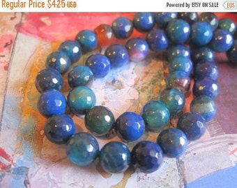 """30% OFF SALE Blue and Pink Agate Faceted Round 8mm Beads, 8"""" long, 24 pcs, Gemstone Beads"""