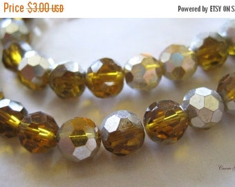 "20% OFF ON SALE 16"" long (55 pcs) Chinese Crystal Half Silver Coated & Half Gold Brown Faceted Round 6mm Beads"