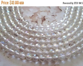 """20% OFF ON SALE 16"""" long (92 pcs) Rock Crystal Faceted Round Ab 4mm Beads"""