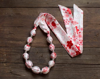 White and red textile necklace, fabric covered necklace, fabric beaded necklace, textile jewelry, Statement Necklace, Unique Gift for Her