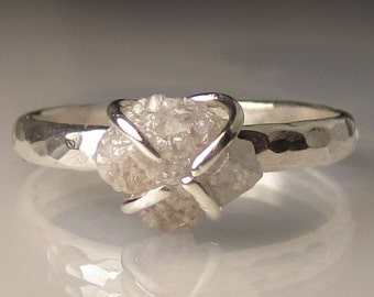 Raw Diamond Ring, Rough Diamond Engagement Ring, Hammered Raw Diamond Ring, Sterling Palladium Silver, 1.85CTS