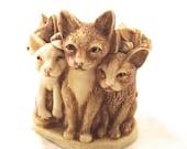 Harmony Kingdom Fur Ball Netsuke Box, Vintage Figural Trinket Box with Cats, Dog and Mouse