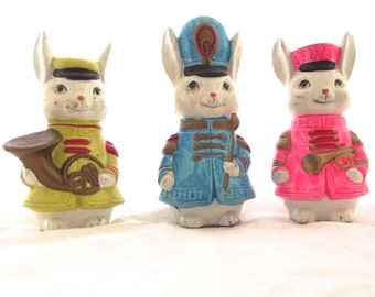 Bunny Rabbit Marching Band Figurines, Vintage Set of 3 Rabbits in Neon Uniforms (DB2)