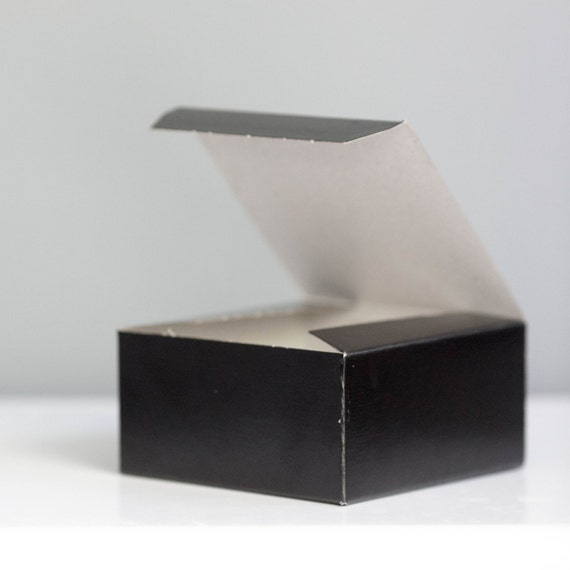 Black Gift Boxes - Set of 10- 4x4x2 inch - Black Tie Event Favor Box, New Years Eve Box, Little Black Box, Valentines Day Gift Box