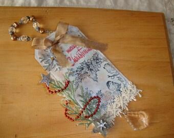 Mixed media Christmas ornaments tags paper art ornament birds snowy scene Merry Christmas Shabby Chic Home decor