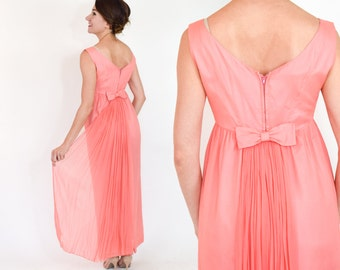 60s Silk Evening Gown | Coral Pink Chiffon Prom Bridesmaid Party Dress | Small