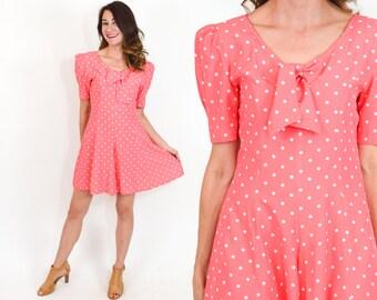 80s Coral Romper | Pink Polka Dot Playsuit Mini Dress |Medium