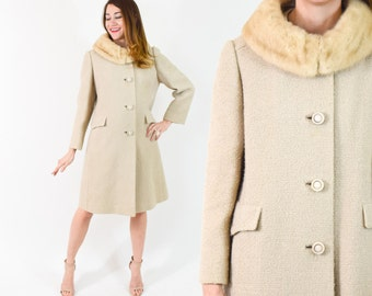 50s Beige Wool Coat | Boucle Wool Winter Coat with Mink Collar | Medium